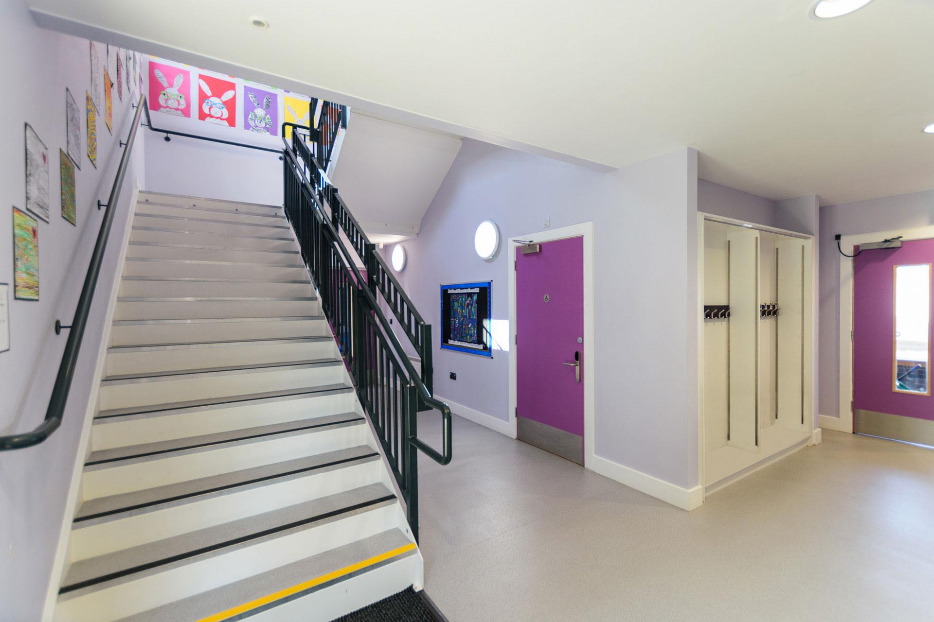 Drumbet School and ASD 6th Form teaching - Modular SEN building internal DDA stairway and corridor