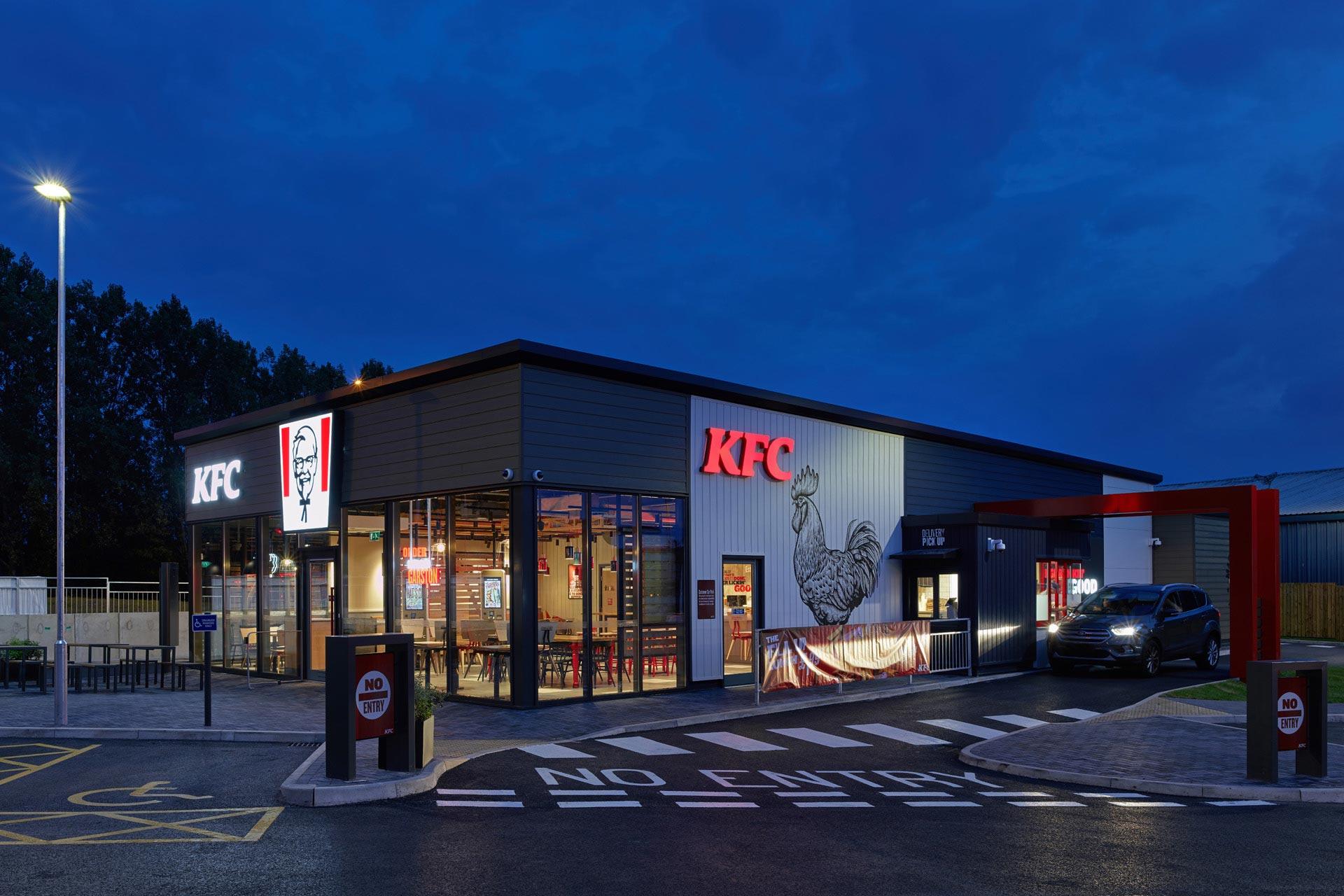 KFC Garston, Liverpool - Modular Restaurant building - External night view