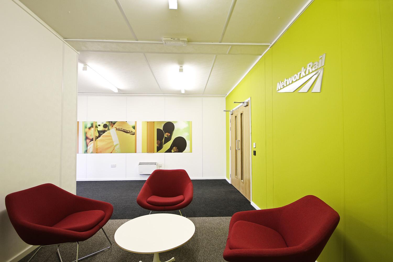 Network Rail modular office building internal reception