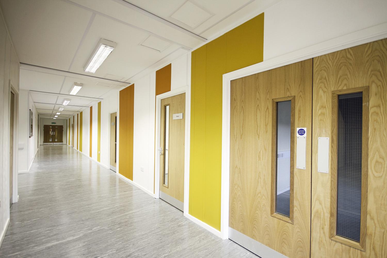 Network Rail modular office building corridor