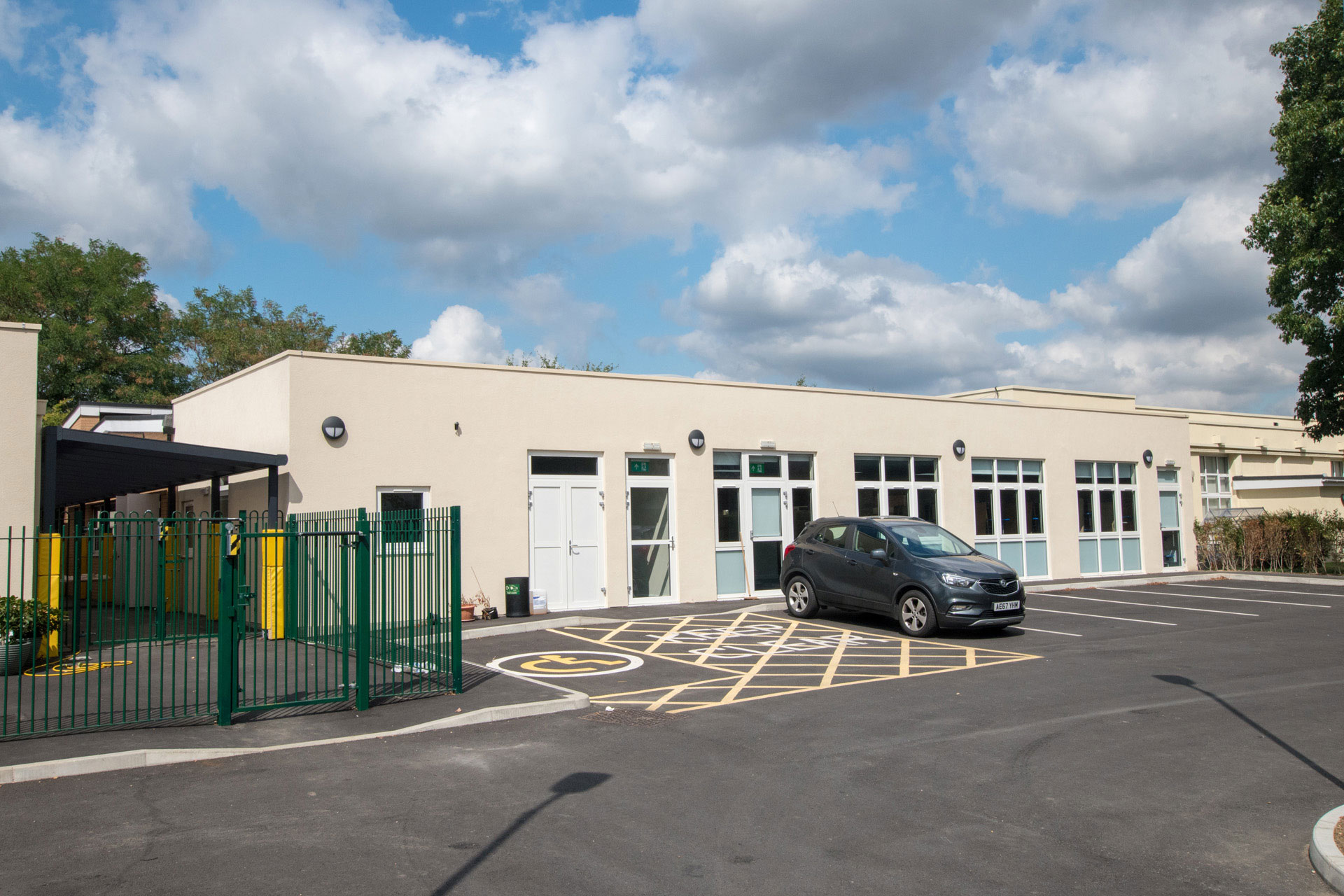 Parkhill Infants and Junior School dining hall Modular building extension external view