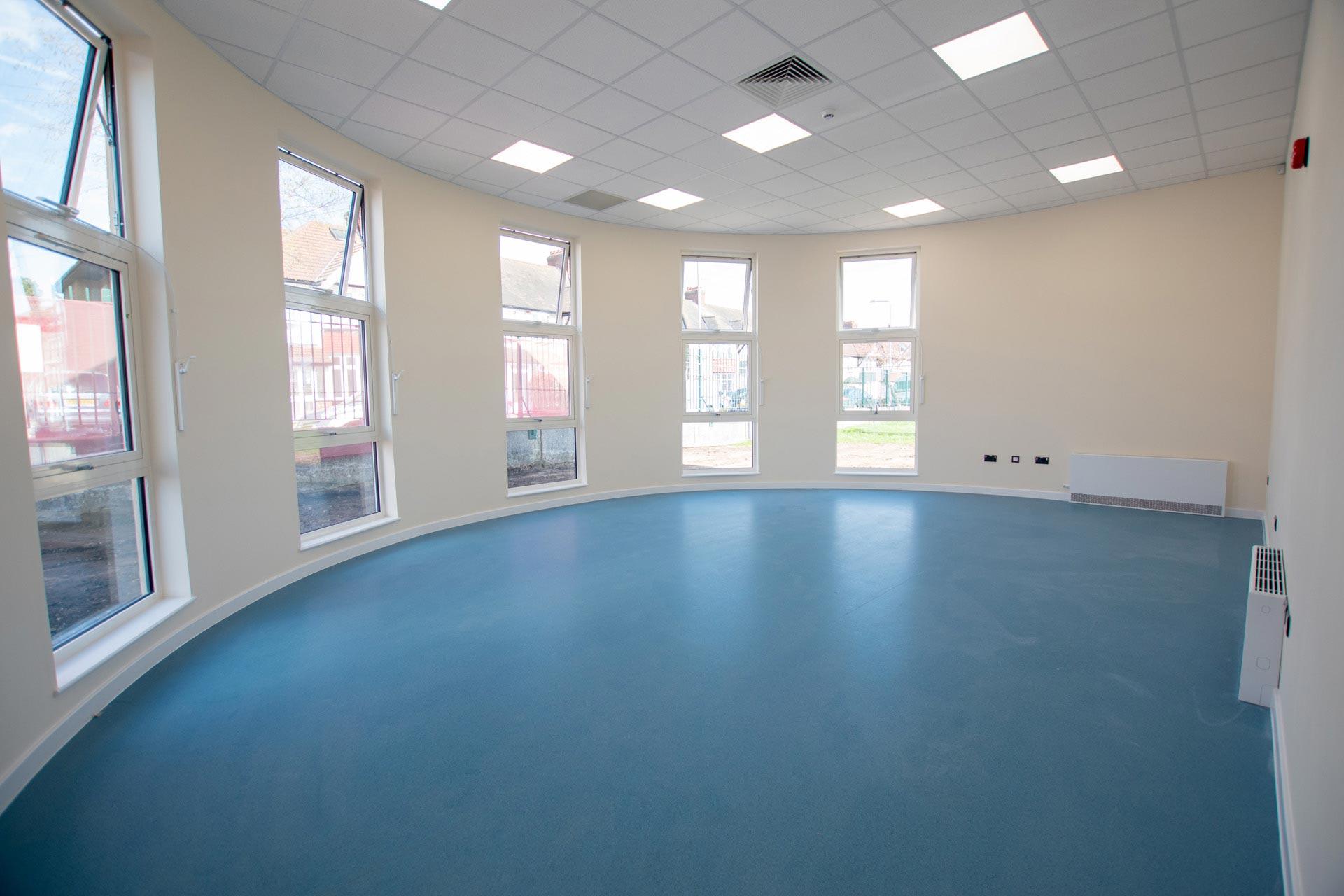 Parkhill Infants and Junior School external - Curved modular building internal