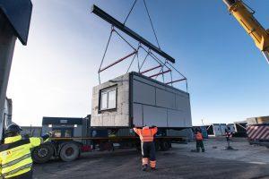 Housing 21 Retirement living modular apartments UK - Richard Onslow Court - Lifting for transportation