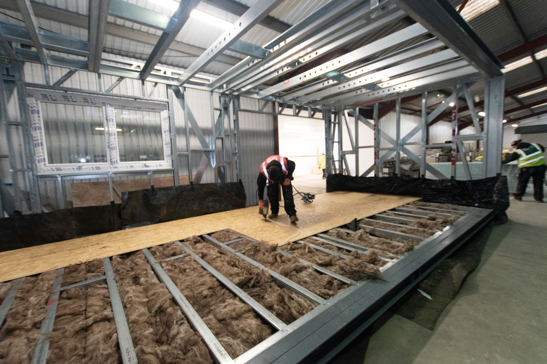 Housing 21 Retirement living modular apartments UK - Richard Onslow Court - Factory progress floor decks