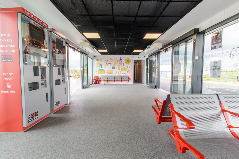Temple Green Leeds - Modular building Park and Ride station internal waiting area