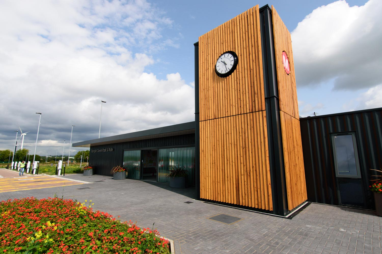 Temple Green Leeds - Modular building Park and Ride station external view clock tower