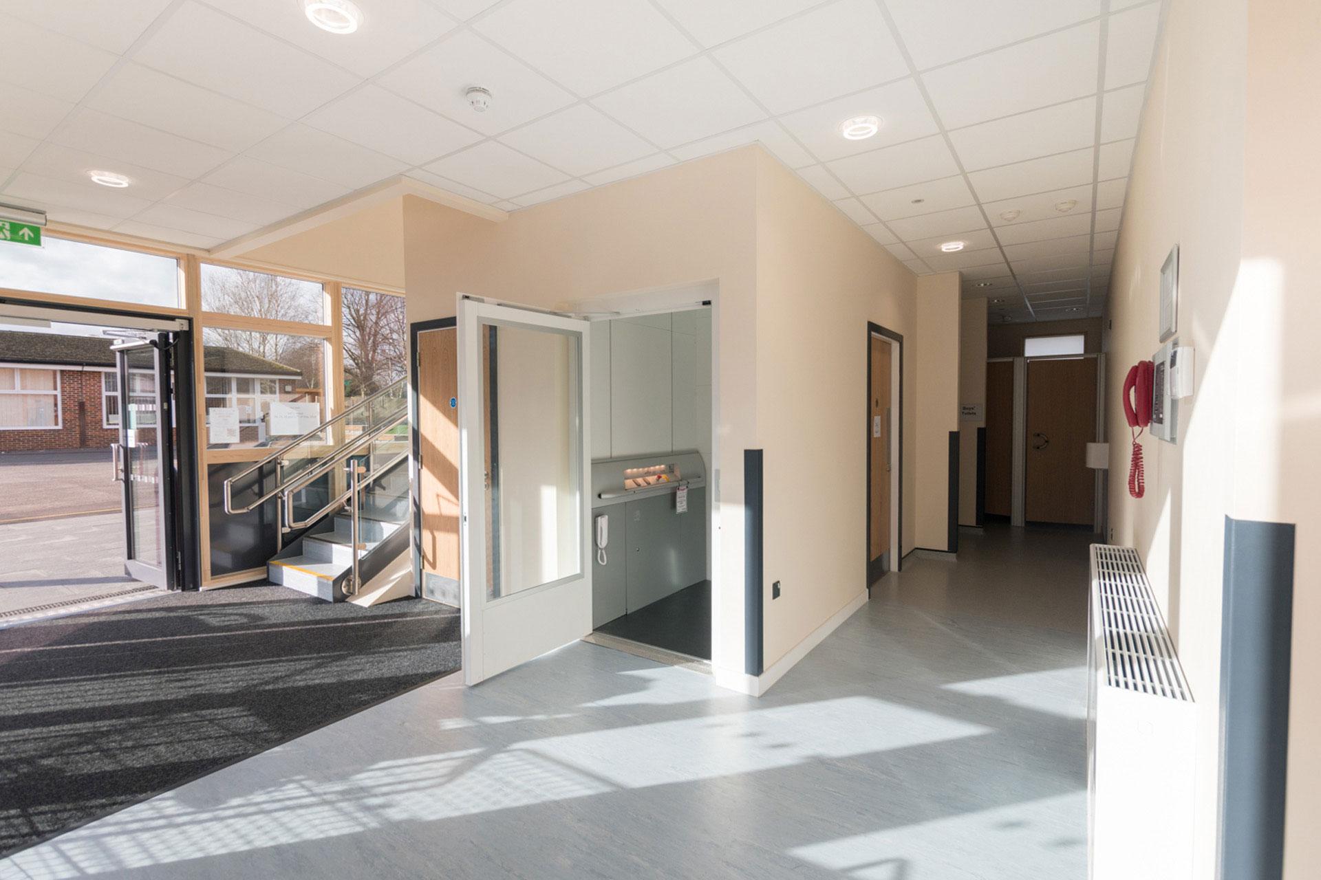 Woodcote Primary school - Modular School expansion - Internal entrance and DDA compliant lift