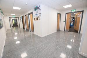 Temporary modular building - Hire Building corridor
